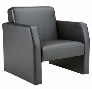 Reception Chairs Face Single Leather Seat Armchair - Black FA1/BL/BLK