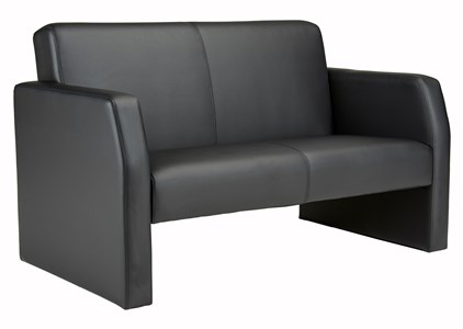 Reception Chairs Face Double Leather Seat Sofa - Black FA2/BL/BLK