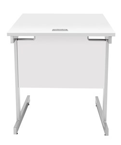 Fraction Plus Square Desk, White with Silver Frame